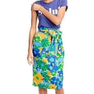 J.Crew Floral Tie Waist Paper Bag Skirt